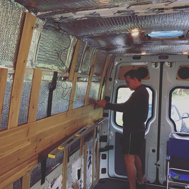 On to the finish work on the sprinter van conversion cedar panels sprinter van conversion for Ford cargo van interior panels