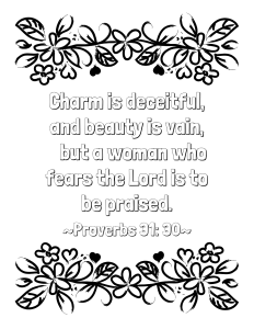 Free Proverbs 31 30 Coloring Page Sunday School Coloring Pages