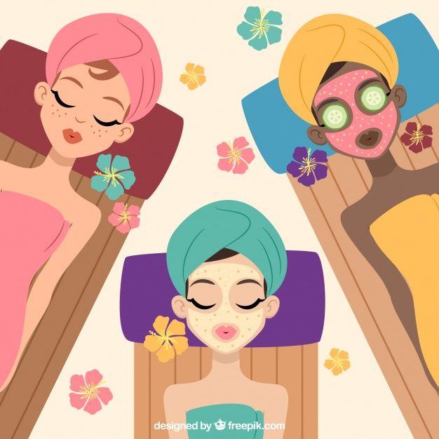 Women Enjoying The Spa Free Vector Facial Spa Spa Beauty Party