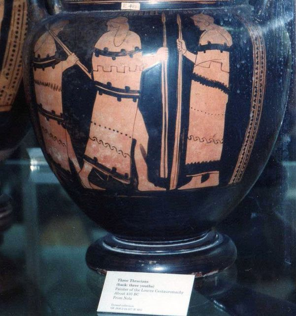 Three Thracian peltasts on a vase from Nola | Ancient art, Ancient, British  museum