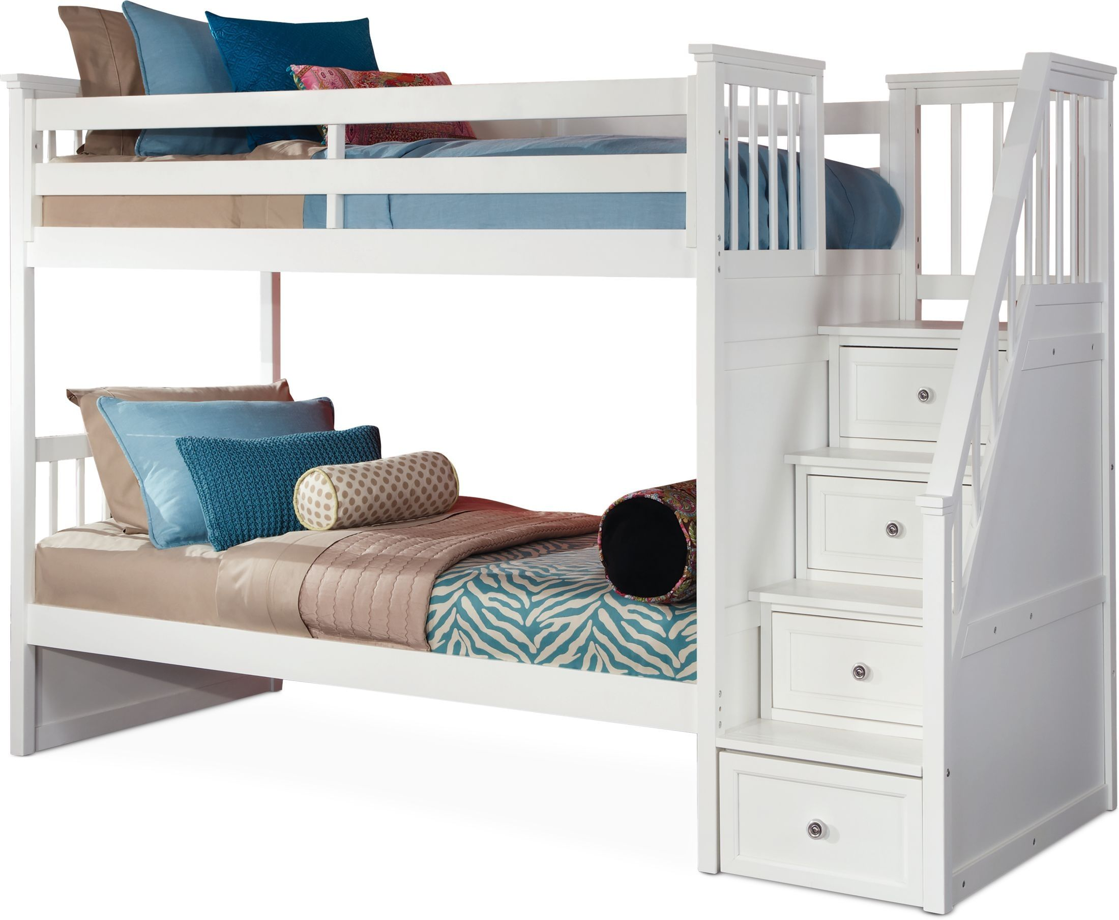 Flynn Twin Over Twin Bunk Bed With Storage Stairs White Bunk Beds With Storage Bunk Bed With Storage Twin Bunk Beds Twin over twin bunk beds with storage