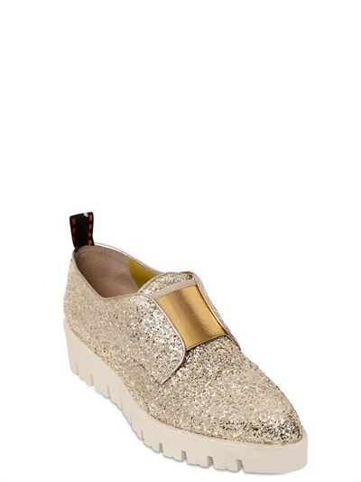 LEO - 40MM GLITTER OXFORD LACE-UP SHOES - LUISAVIAROMA - LUXURY SHOPPING WORLDWIDE SHIPPING - FLORENCE