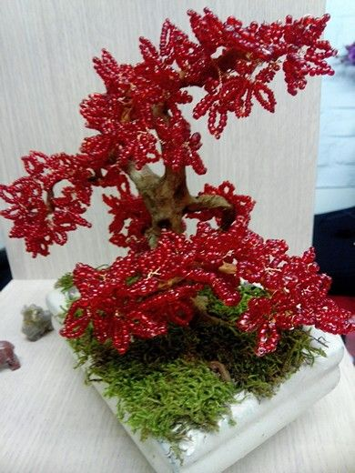 Banzaï en perle rouge style érable