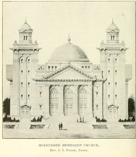 McKendree Church in Nashville. Image from - Clarke, Ida C. G. All About Nashville: A Complete Historical Guide Book to the City. Nashville, Tenn: Marshall & Bruce Co, 1912.