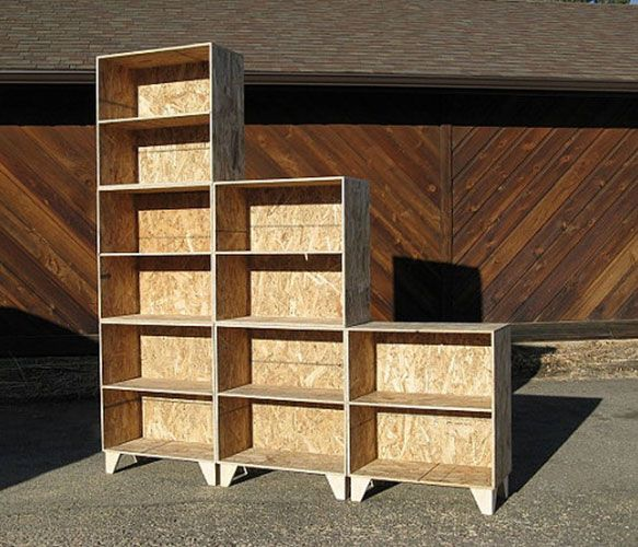 Modular Bookshelf Made Of Eco Friendly Plywood Called Oriented Strand Board