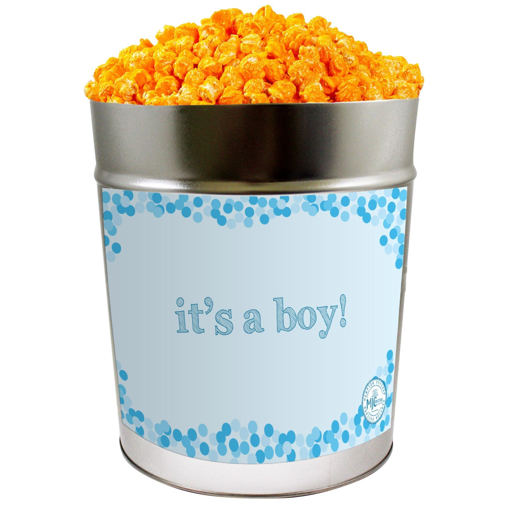 Photo of Orange Cheddar Cheese Popcorn: It's A Boy – 3.5 Gallon