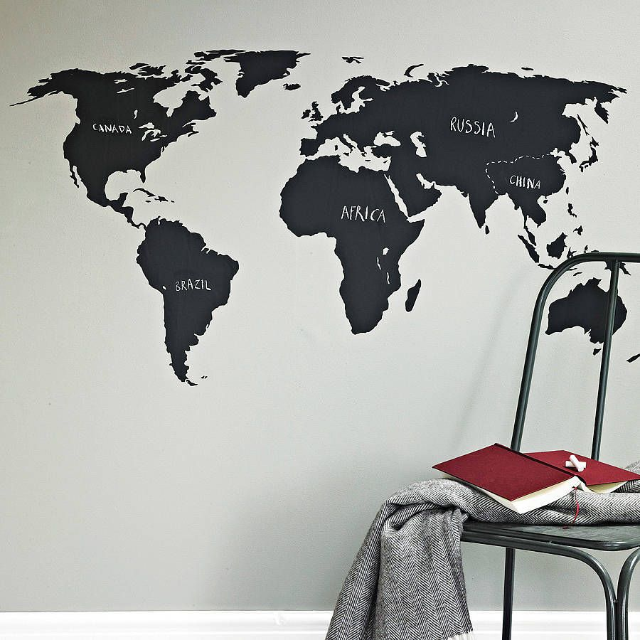 Chalkboard world map wall sticker blackboards wall sticker and blackboard world map wall sticker a great way to teach children or simply plan your gumiabroncs Gallery