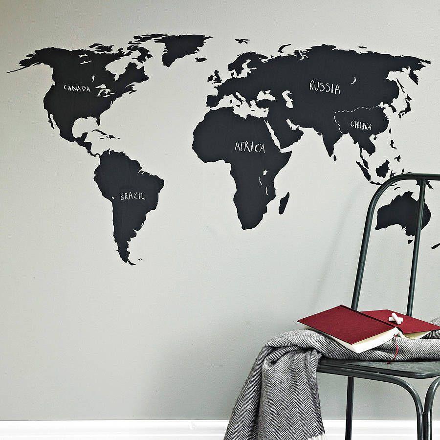 Chalkboard World Map Wall Sticker  Blackboards Wall sticker and