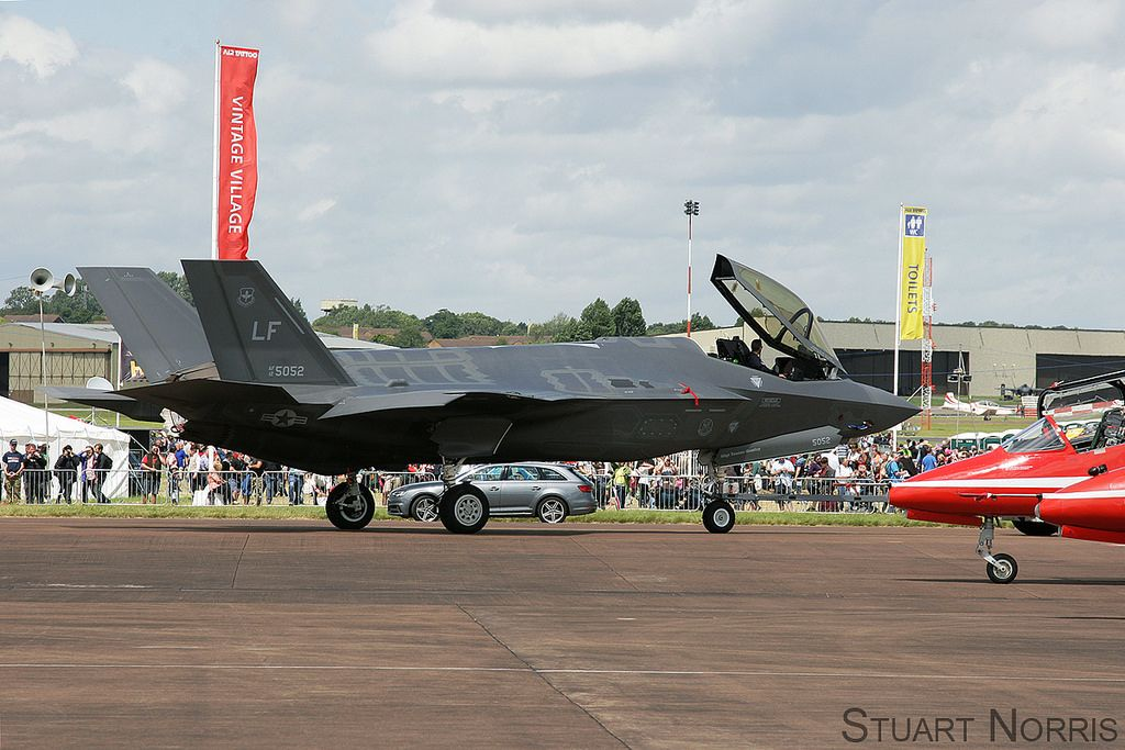 https://flic.kr/p/QRFV1z | F-35A Lightning II 12-5052 - LF 61st Fighter Squadron Luke AFB | Being towed back to the Hangar after appearing on static display at RIAT 2016, RAF Fairford.
