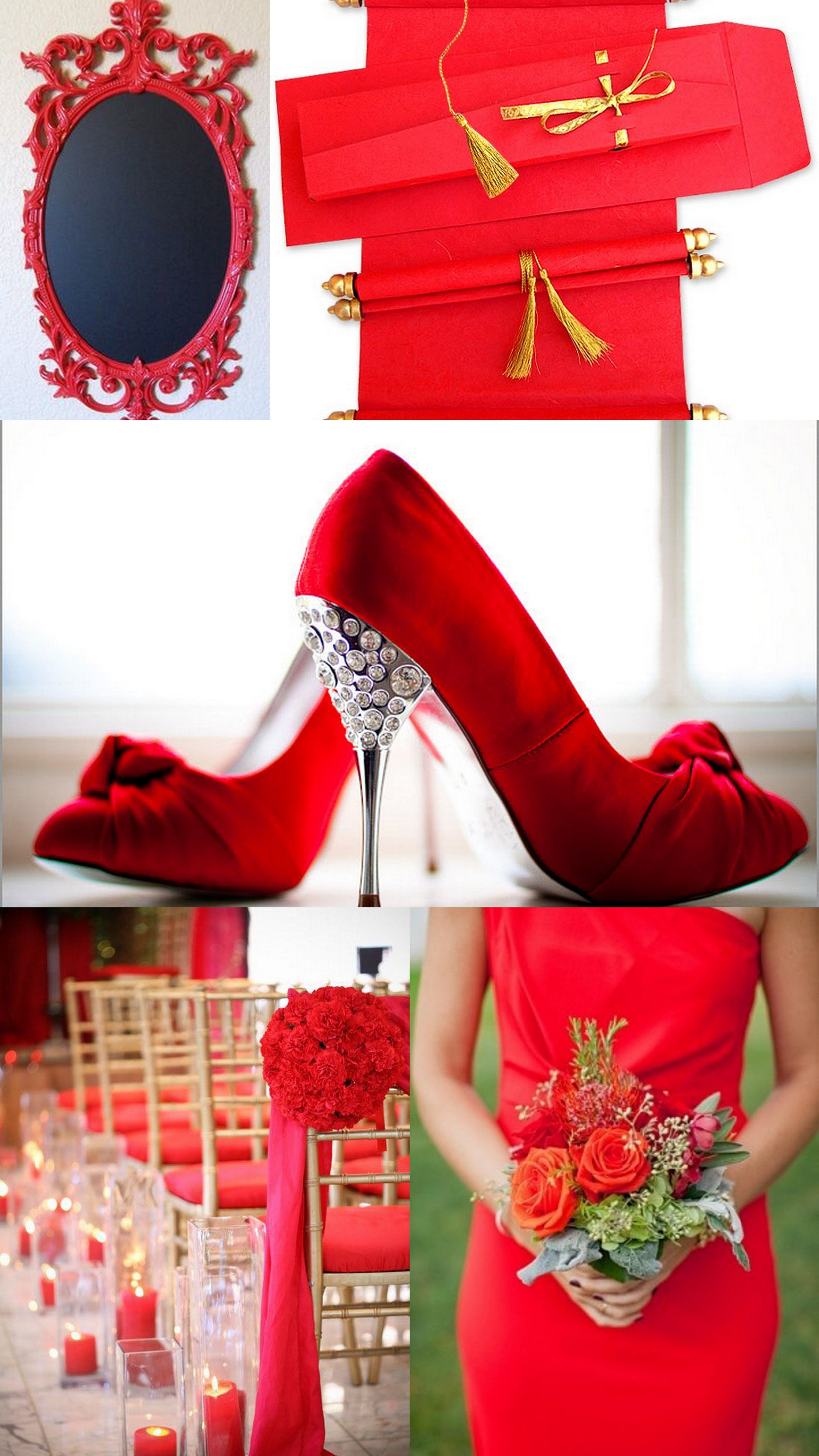 Invite guests to your red themed wedding in style with the elegant ...