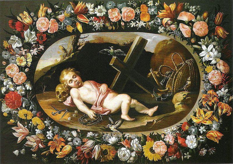 Datei:Van der Hamen y León - Girlande mit schlafenden Jususkind.jpg