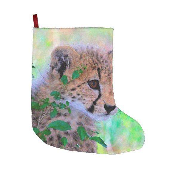 aqua_cheetah_20180102 large christmas stocking - Big Stockings For Christmas
