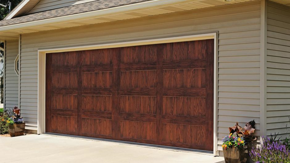 C H I 5983 Long Panel Carriage House Woodtones Mahogany Door With No Windows Garage Doors Garage Door Styles Overhead Garage Door