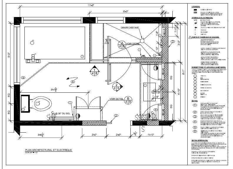 Nouvelle salle de bain plan architectural et lectrique for Plan electrique salle de bain