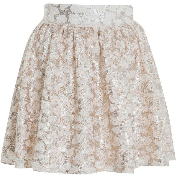 Miss Selfridge Lace Sequin Skater Skirt (£9.18) ❤ liked on Polyvore featuring skirts, bottoms, saias, faldas, cream, knee length lace skirt, cream skater skirt, lacy skirt, cream skirt and flared skirt