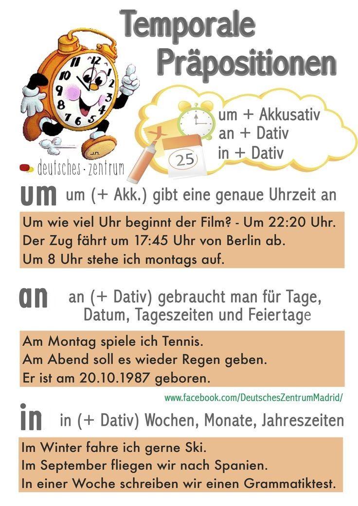 temporale pr positionen um akkusativ an dativ in dativ deutsch lernen german. Black Bedroom Furniture Sets. Home Design Ideas