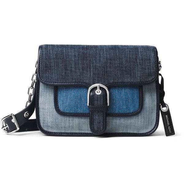 Michael Michael Kors Cooper Medium Denim Messenger Bag ($178) ❤ liked on Polyvore featuring bags, messenger bags, blue bag, denim bags, flap bag, zipper bag and denim messenger bag