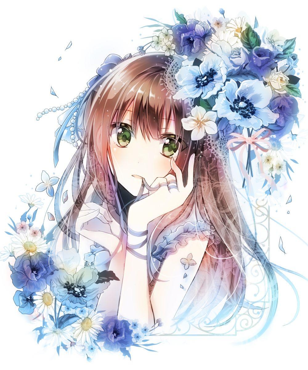 Pinterest flowers tied ribbons eyes Mỹ thuật, Anime