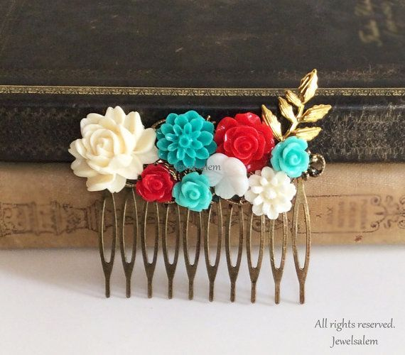 Aqua Wedding Hair Comb Teal Red Ivory Bridal Headpiece Flower Collage Floral Gold Leaf Branch Vintage Style Chintz Quaint Elegant Chic WR