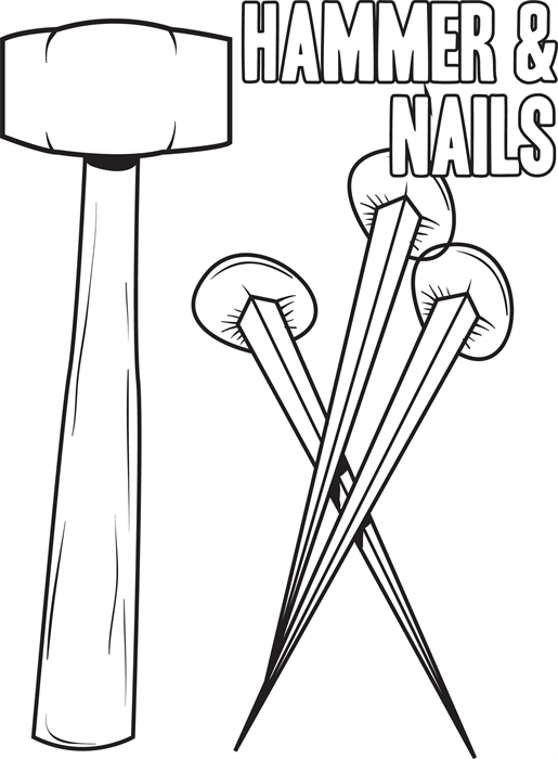 Hammer and Nails Crucifixion Coloring Page Coloring