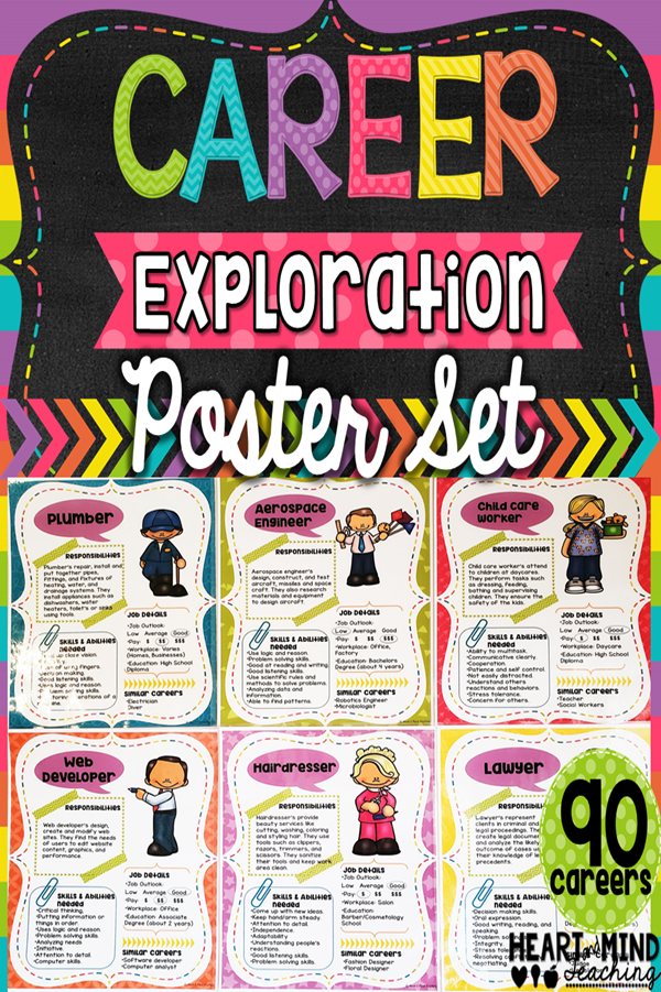 Career Exploration Poster Set Career Exploration Elementary School Counseling Lessons School Counselor Resources