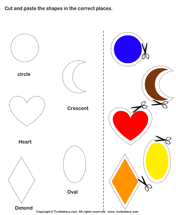 Cut and Paste heart circle diamond MATER AL 6 – Cutting Worksheets