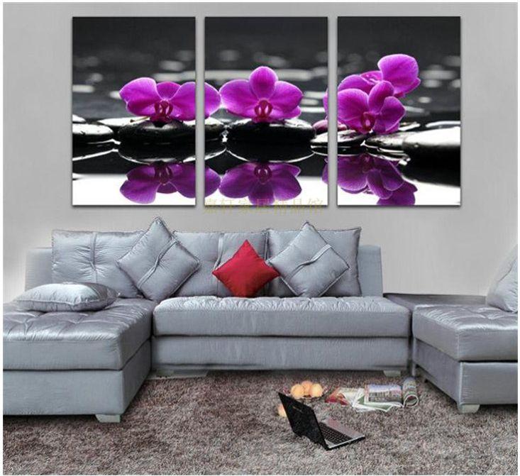 Room 3 Piece Wall Art Purple Flower Canvas Living Bedroom Decoration Unique