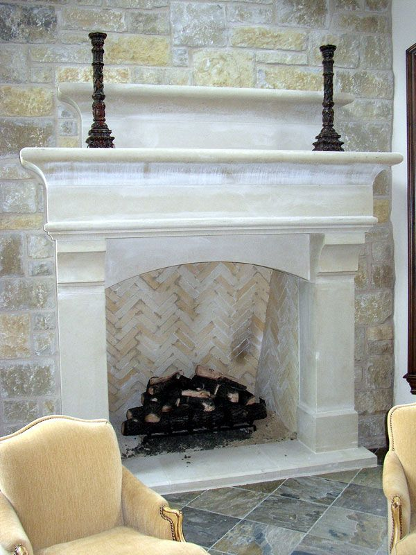 Cast stone fireplace with raised hearth stone stone for Concrete mantels and hearths