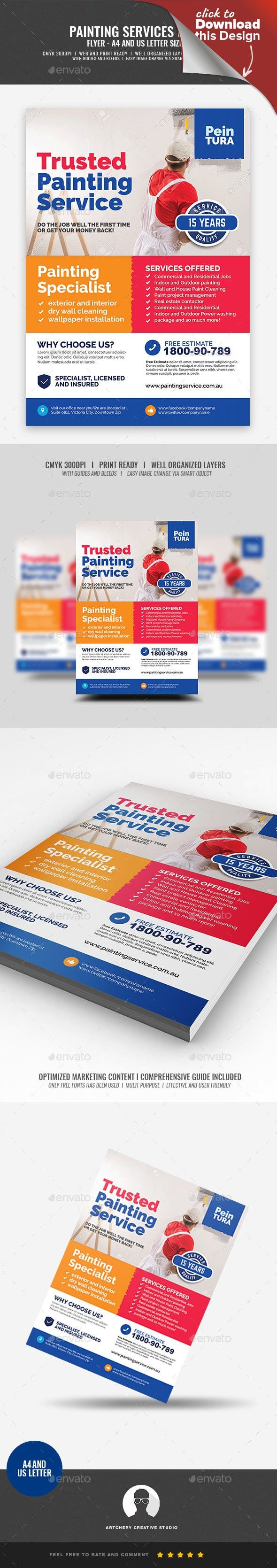A4 Flyer Acrylic Advertisement Brush Paint Building Color Colorful Commercial Contractor Creative Gloss Home Reno