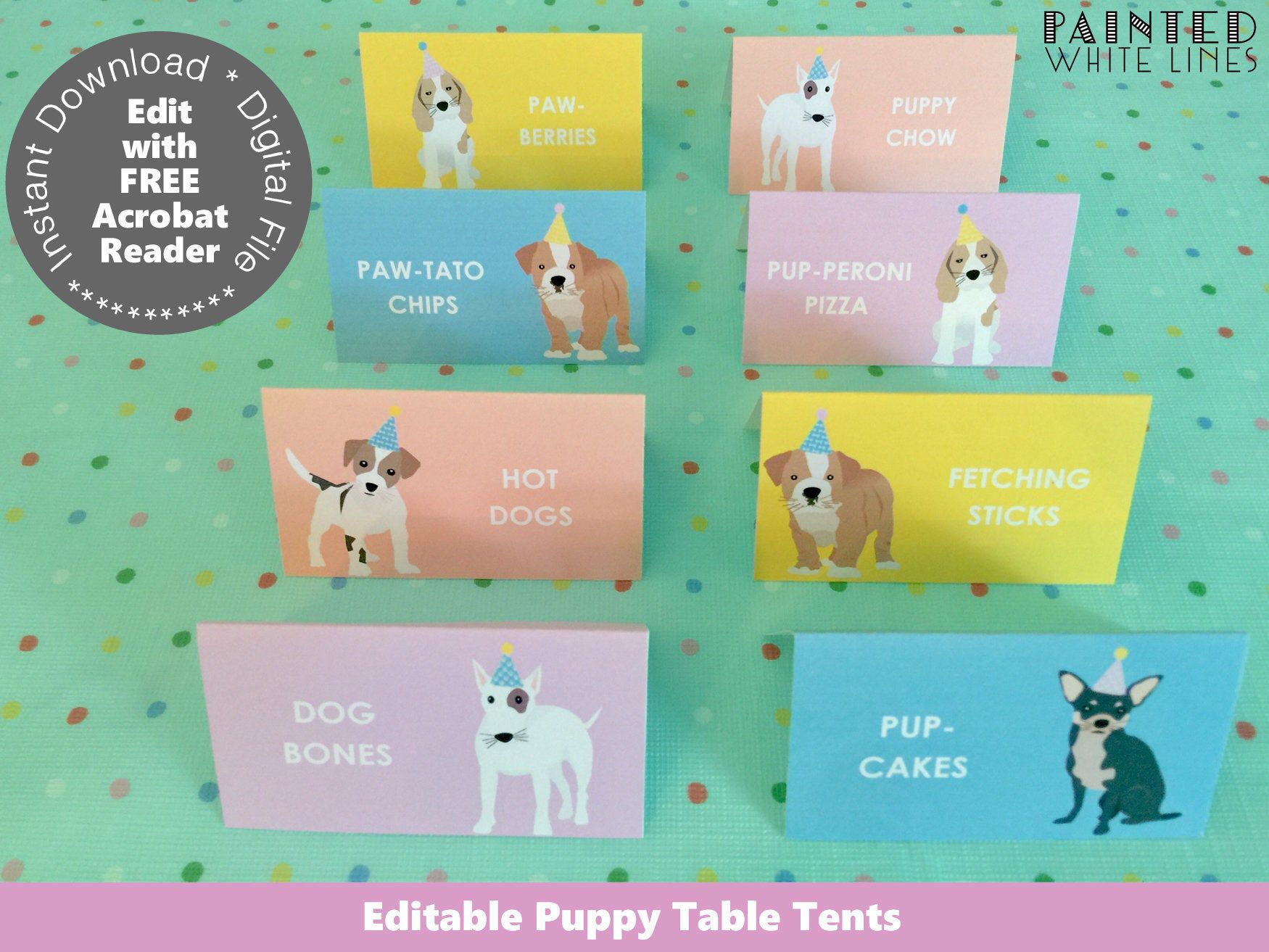 Download Puppy Party Food Labels Printable Party Favor Bag Topper Template Puppy Birthday Party Dog Birthday Girls Birthday Party Decor Pwl6 Pwl25 Puppy Party Party Food Labels Puppy Birthday