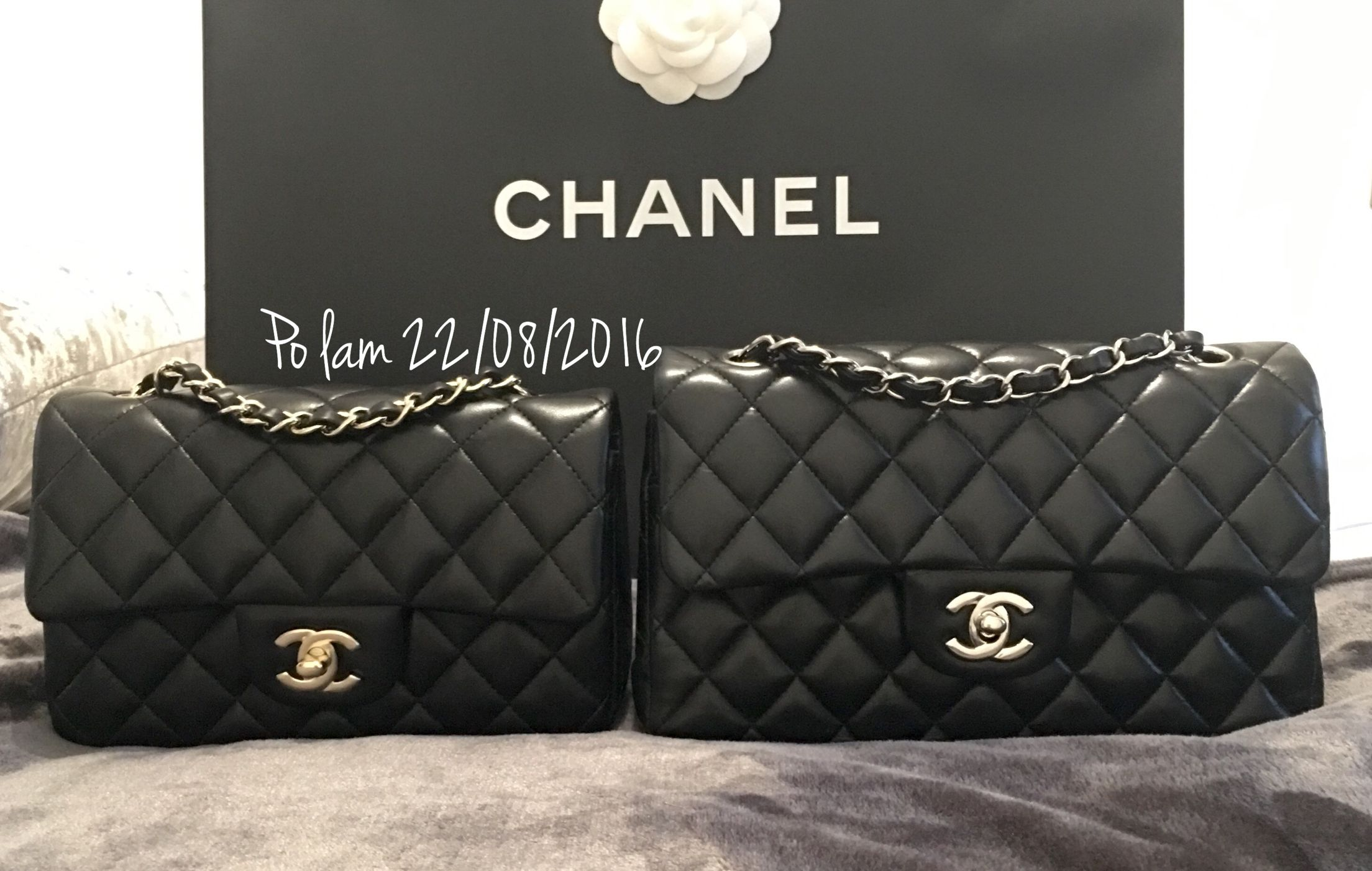 44d18ac94fcad7 Chanel rectangular mini with light gold h/w and small double classic flap  with silver h/w Both in black lambskin ❤️