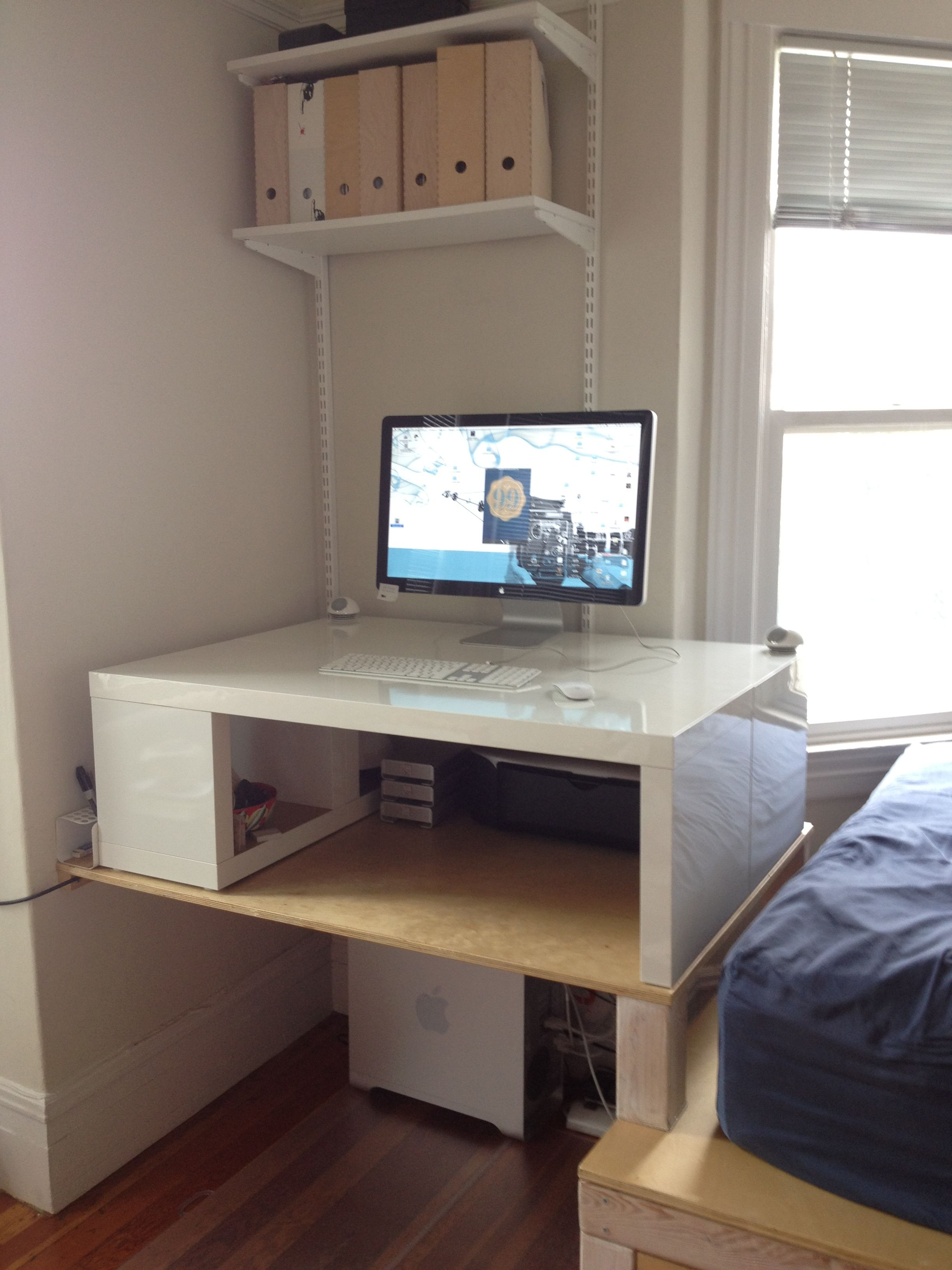 Standing Desk Made From 2 Ikea Lack Coffee Tables Escritorios [ 3264 x 2448 Pixel ]