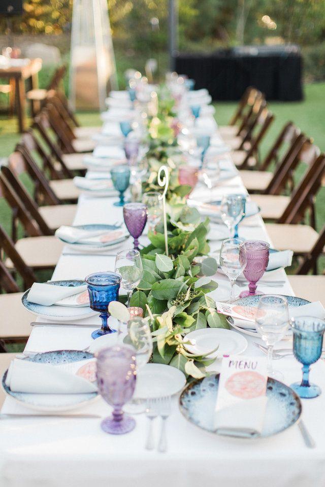 Long Tables Outdoor Wedding Reception The Gardens At Los Robles