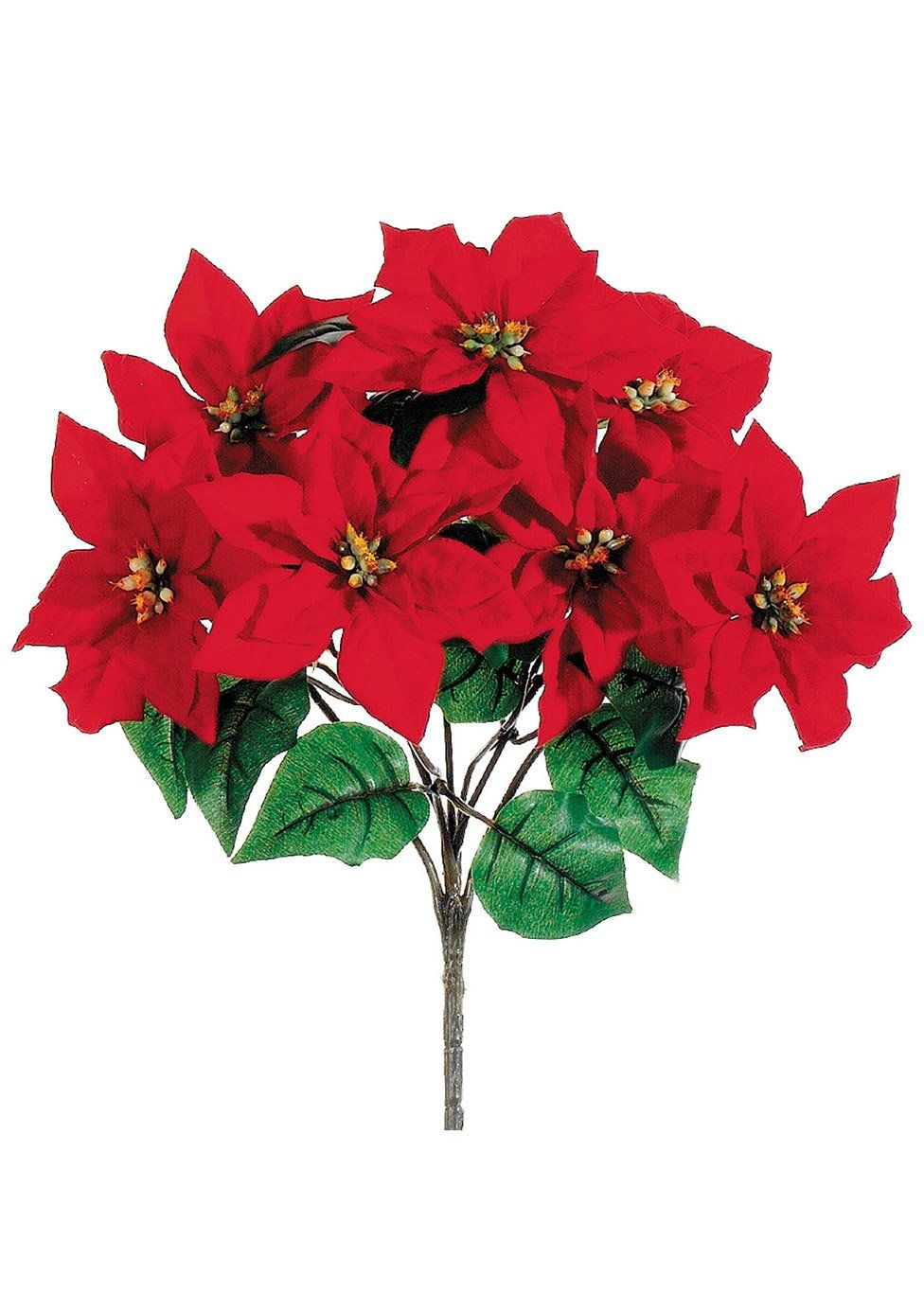 Indoor Outdoor Water Resistant Artificial Poinsettia Bush In Red In 2020 Artificial Flowers Small Artificial Plants Artificial Plants Decor