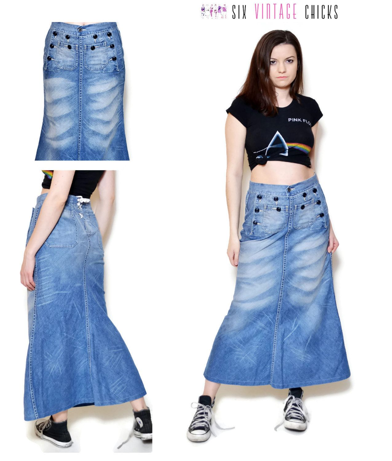 195159de12d Denim Skirt Maxi Skirt jean skirt vintage clothing women clothing sexy  clothes 90s Size S 36 by SixVintageChicks on Etsy