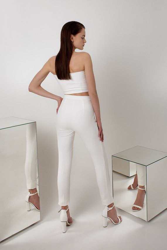 White Simple Top And Pants High Waist Skinny Pants Fitted Top Minimalist Party White Outfit Two Piece Bridesmaid Dress White Crop Top