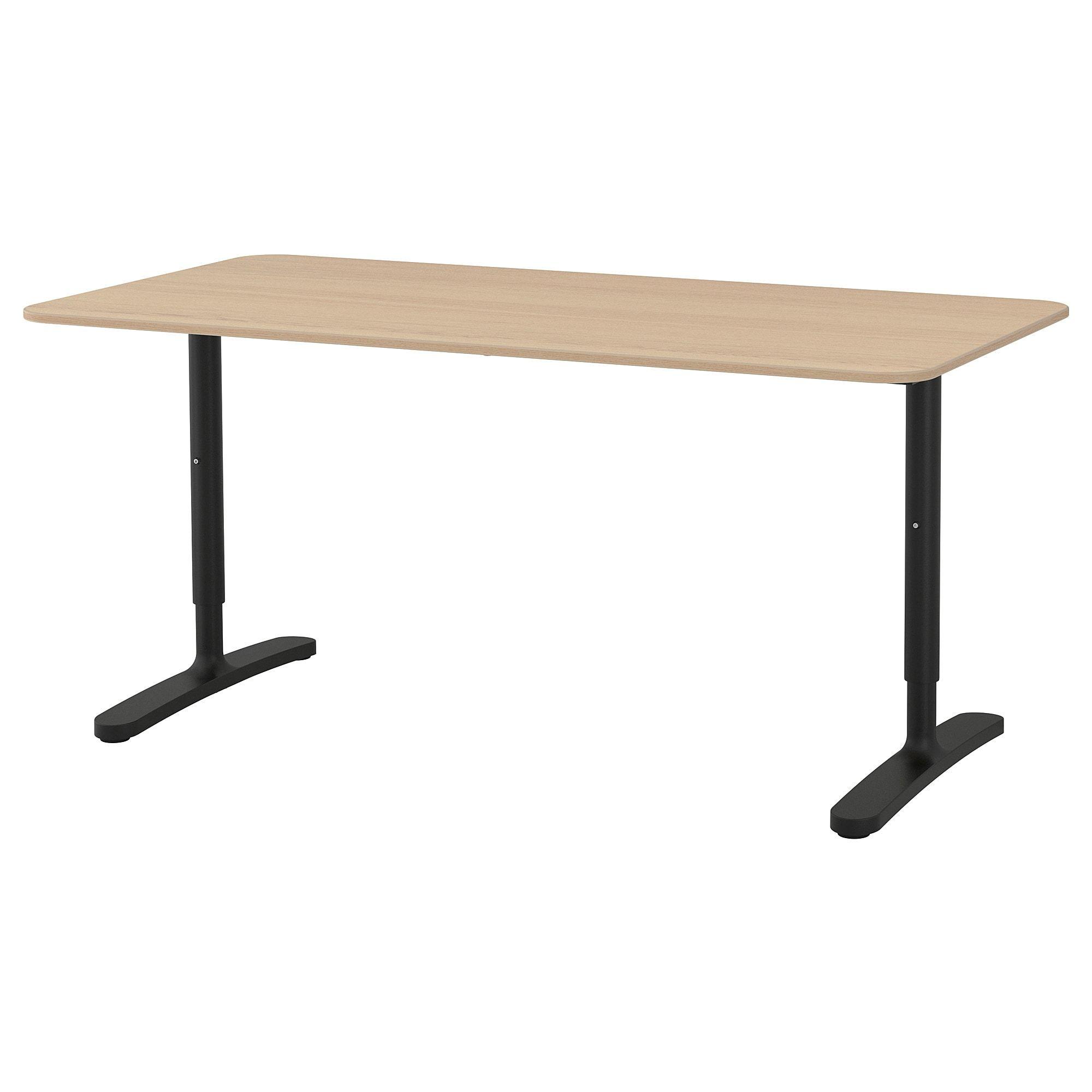 Bekant Desk White Stained Oak Veneer Black Ikea In 2020 Ikea Bekant Ikea Bekant Desk White Desks
