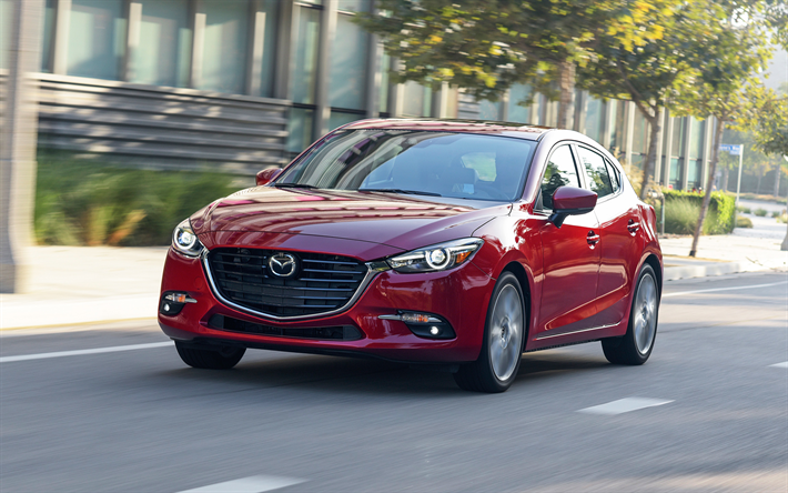 Hämta bilder Mazda 3, 2017, red sedan, nya bilar, Japanska bilar, Mazda