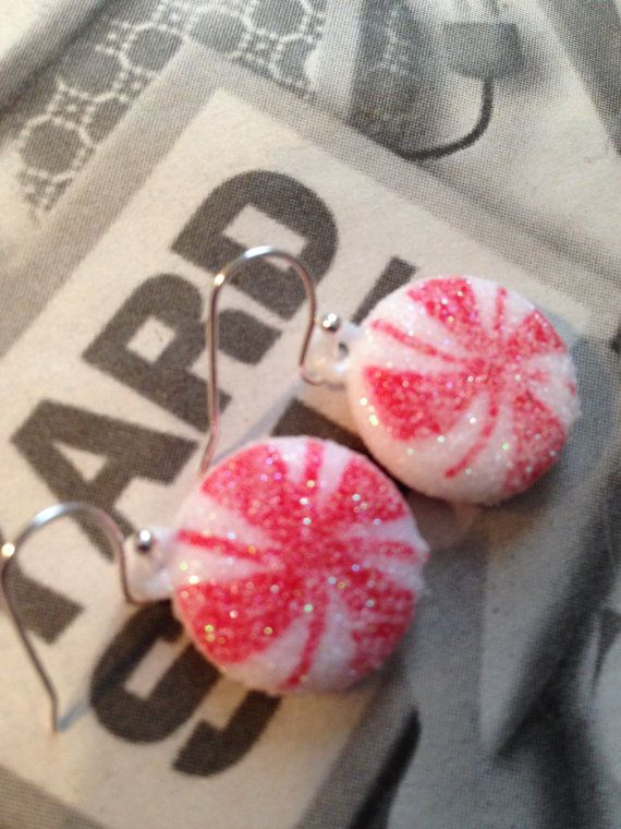 Red White Christmas Candy Earrings Festive by ArtisticSparkle