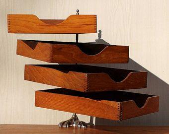 Superbe banette de bureau en bois vintage organiseur art deco