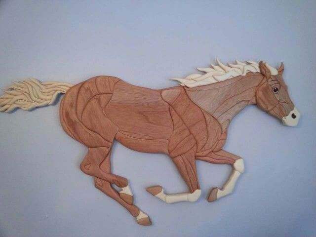 Running horse intarsia.  Over 40 inches long