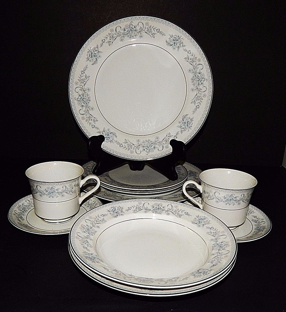 2 Mikasa Dresden Rose White 5pc Place Setting Dinner Salad Plate Cup ...