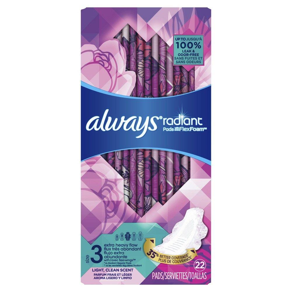 Always radiant extra heavy flow absorbency with flex foam