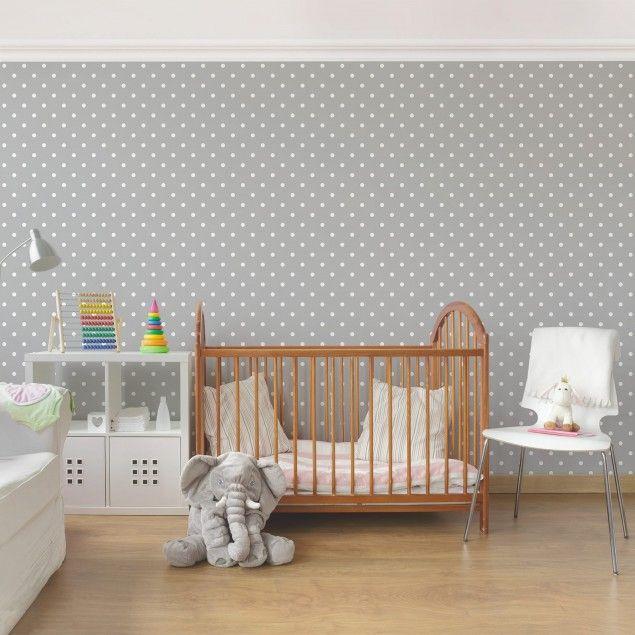 Tapete Punkte - Weiße Punkte auf Grau - Muster Vliestapete Premium ...