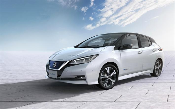 Download wallpapers Nissan Leaf, 2018 cars, white Leaf
