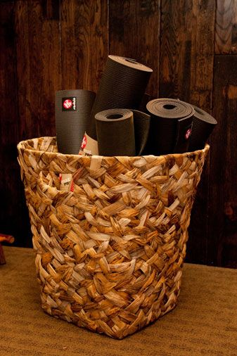 Basket To Store My Mats Props In My Yoga Nook Yoga Mat Storage Yoga Meditation Room Yoga Room