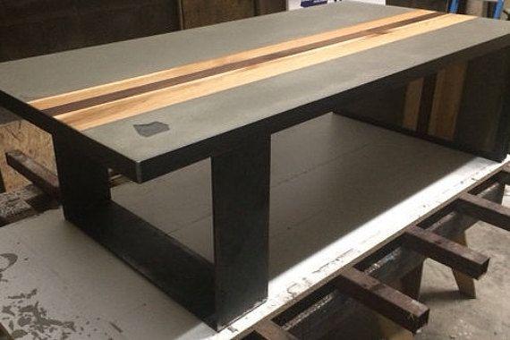 concrete wood steel coffee table table beton plomb et. Black Bedroom Furniture Sets. Home Design Ideas
