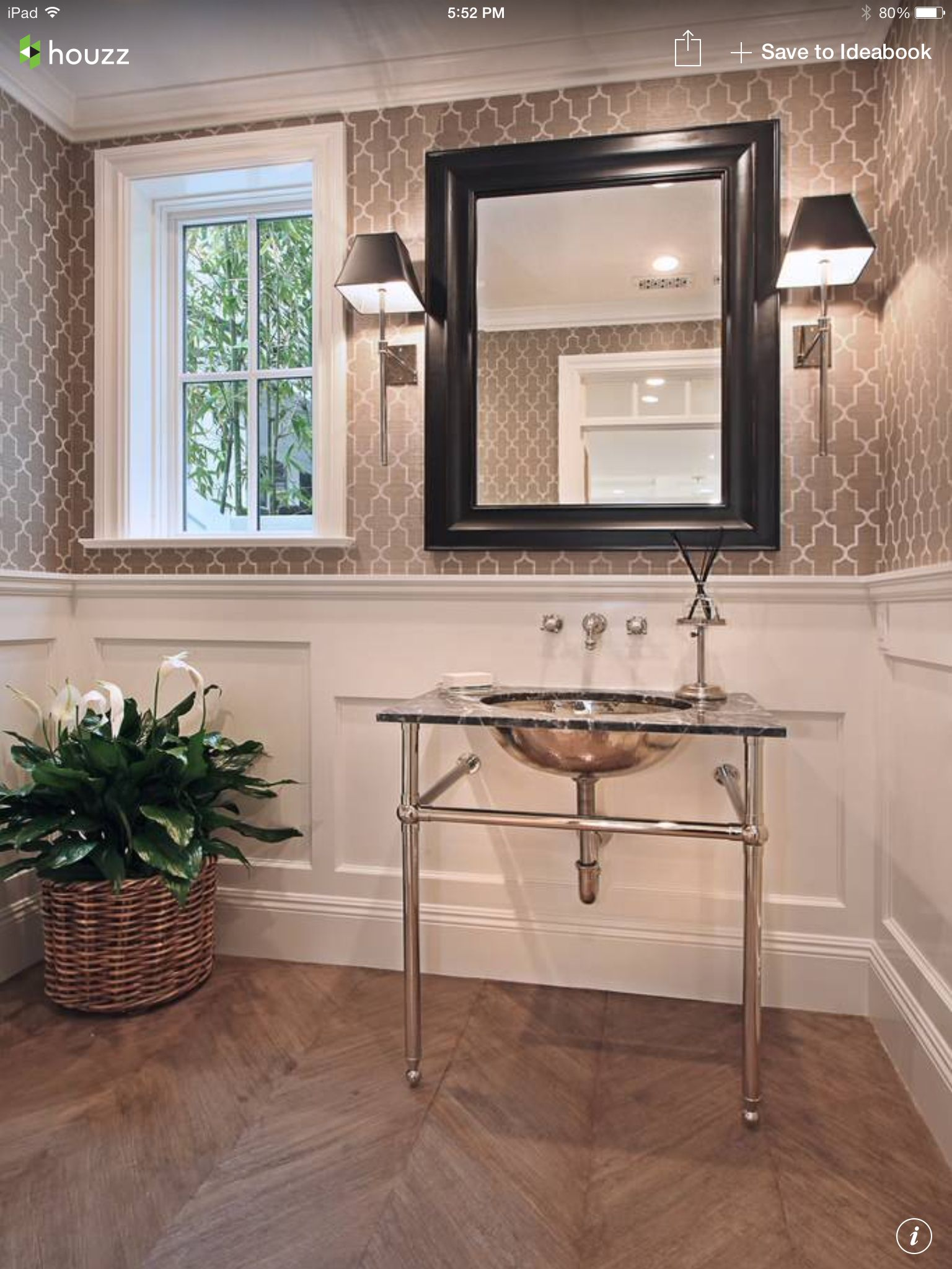 Graphic Wallpaper Above The Chair Rail Powder Room Design Powder Room Wallpaper Home