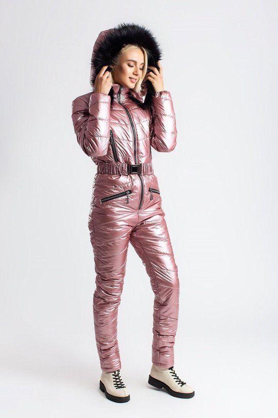 b83777f4c9 Winter Jumpsuit Sport Ski Suit Set Romper Warm Playsuit Fur Metallic Pink  Blue Bronze Anzug Nylon Gl
