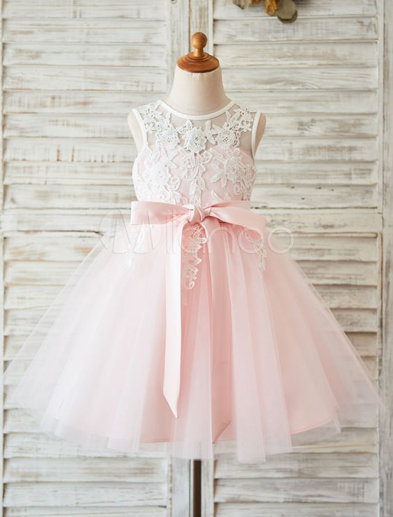 Blumenmädchen Kleid Spitze erröten rosa Tutu Festzug Kleid ...